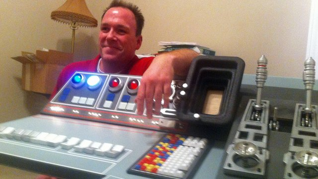 Greg Dietrich shows off the Falcon console
