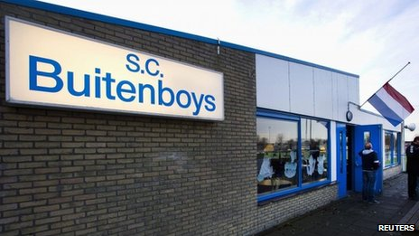 The logo of soccer club Buitenboys is seen at the clubhouse in Almere December 4, 2012.