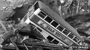 A double decker bus in a bomb crater in Balham