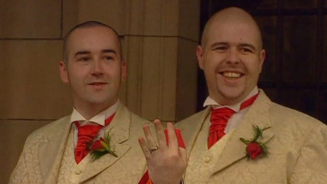 Civil Partnership ceremony - Henry Kane and Chris Flanagan at Belfast City Hall 19/12/2005