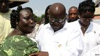 Nana Akufo-Addo (centre) at a polling station in Kibi, eastern Ghana. Photo: 7 December 2012