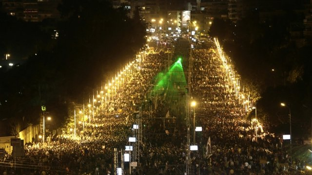 Protesters outside presidential palace