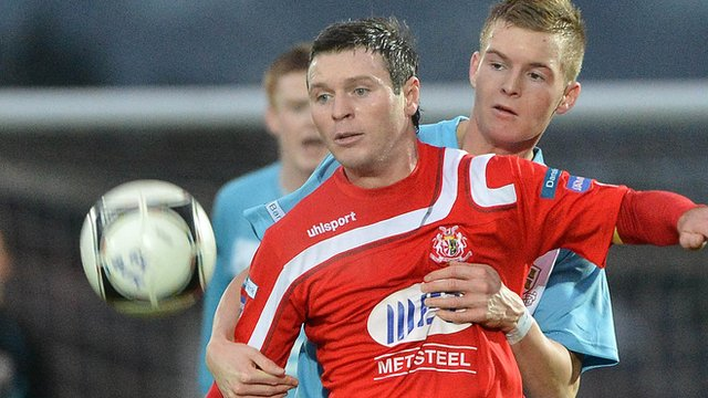 Kevin Braniff scored both goals for Portadown against Ballymena United