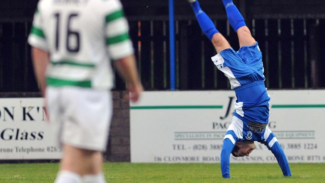 Neil Gawley celebrates scoring against Donegal Celtic