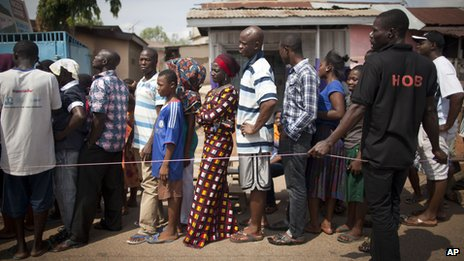 Voters queue in Tesano, Accra, Ghana, on second day of voting 8/12/12
