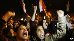 Protesters outside the presidential palace in Cairo