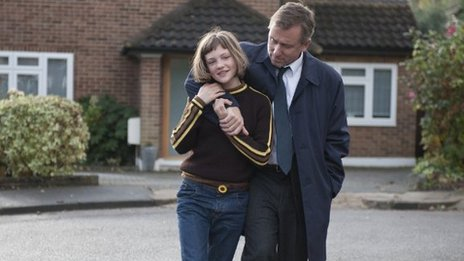 Skunk (Eloise Laurence) and Archie (Tim Roth) in BROKEN directed by Rufus Norris