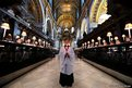 Harry Jackson, 13, the head chorister at St Paul's Cathedral School sings Christmas carols during a photocall inside the Cathedral in central London
