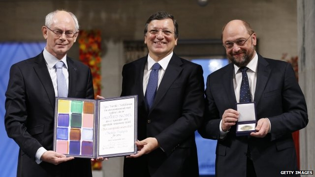 EU leaders collect prize