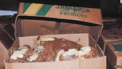 one of the boxes of fake yams