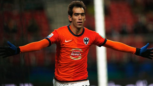 Monterrey forward Cesar Delgado celebrates