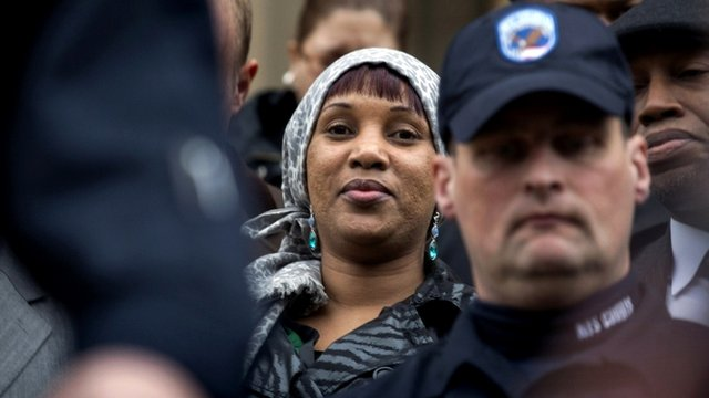 Nafissatou Diallo, exits a Bronx courthouse after the case was settled