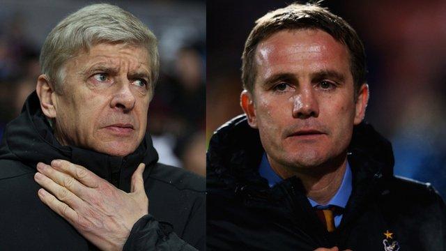 Arsene Wenger and Phil Parkinson