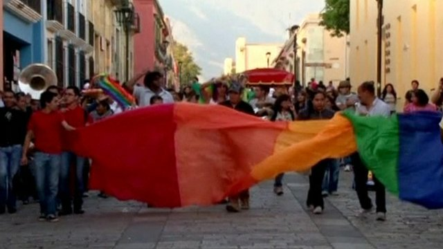 Supporters of same-sex marriages celebrate in Oaxaca City, Mexico