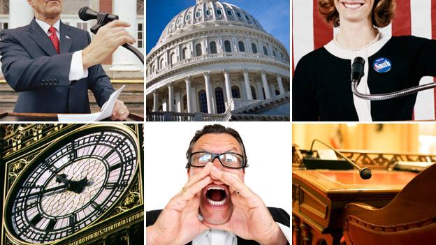 Clockwise - Speaker; US Capitol; politician; US Senate chair; man shouting; Big Ben.