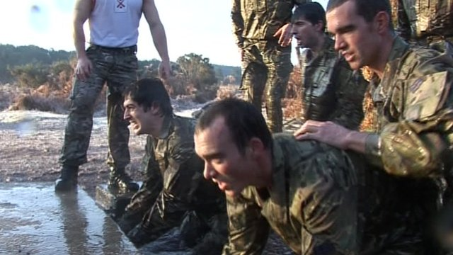 Team GB rowers go through the Royal Marines' 'sheep dip'