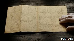 The Tallow Candle manuscript, pic courtesy of Politiken newspaper