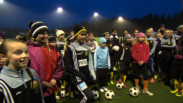 A girls' football training session in Sweden