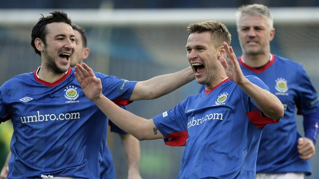 Linfield's Peter Thompson celebrates his goal against Dungannon Swifts