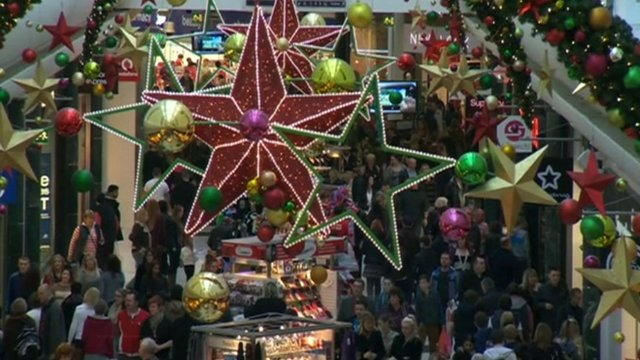 Christmas decorations in a shopping centre