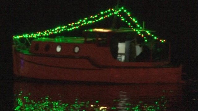 A number of boats were lit-up for a Bristol Harbour Christmas illumination parade