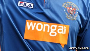 Wonga logo on Blackpool shirt