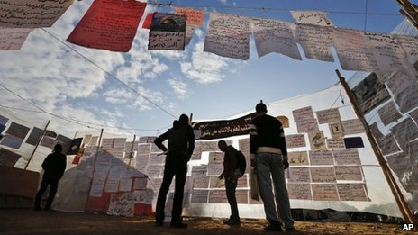 Messages from opposition supporters on display in Cairo's Tahrir Square (17 December 2012)