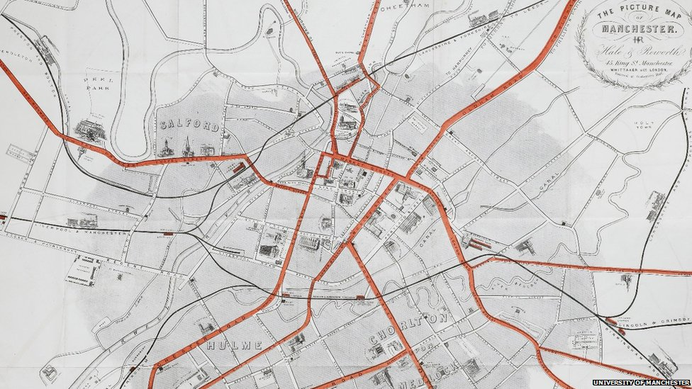 a map of manchester created in 1857 shows the omnibus routes and railway stations marked in