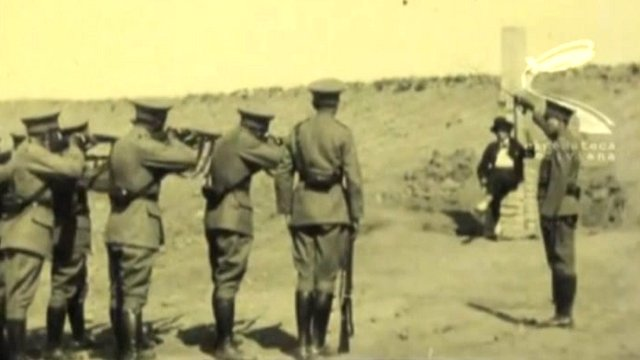 A clip from the film showing the execution of Alfredo Jauregui