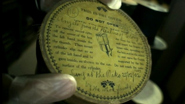 Wax-cylinder containing recordings of the Wall family Christmas, 1902