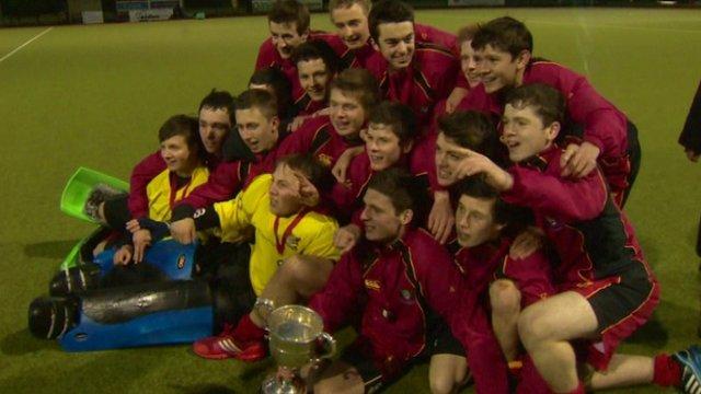 Banbridge Academy's team celebrate their McCullough Cup triumph