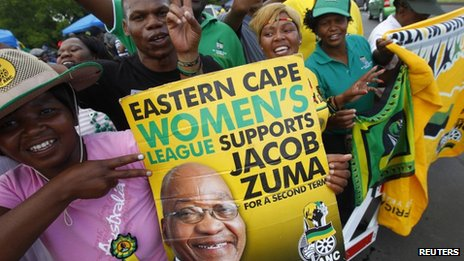 Supporters of President Jacob Zuma at the African National Congress conference - December 2012