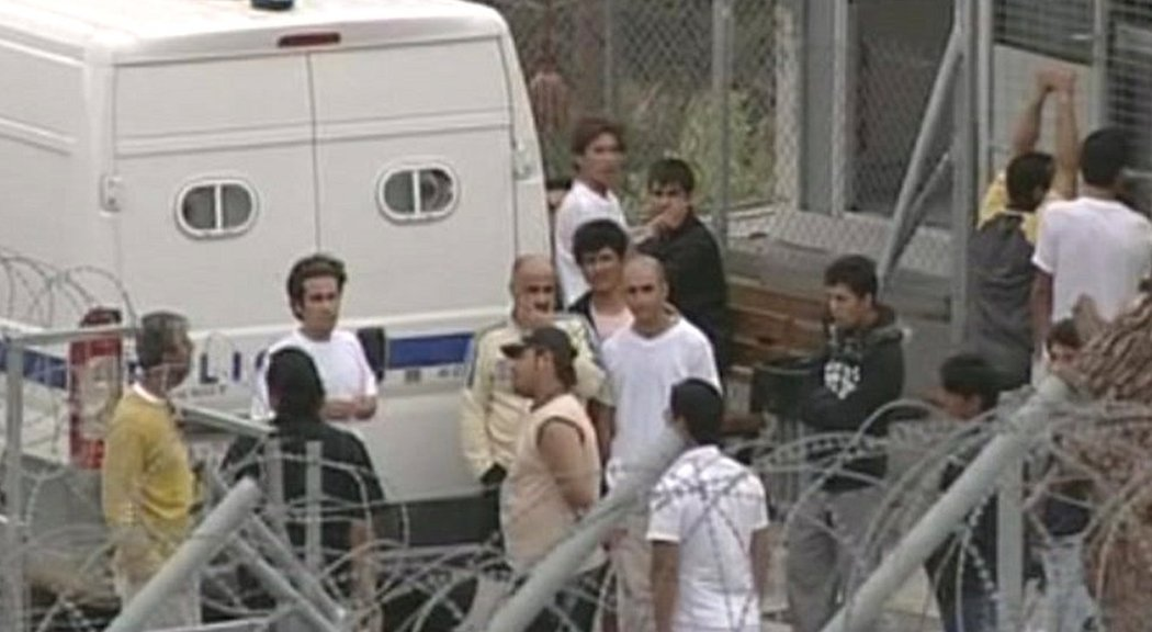 Migrants at a detention centre.