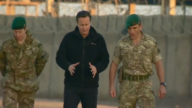 David Cameron with British soldiers in Afghanistan