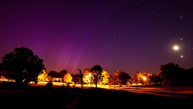 Aurora and Planetary Conjunction (c) NASA