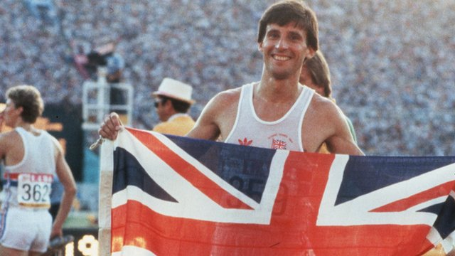 Seb Coe after winning 1500m gold in Los Angeles in 1984