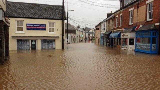 Braunton main shopping street underwater