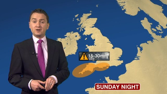 Matt Taylor with weather map showing where worst rain is expected