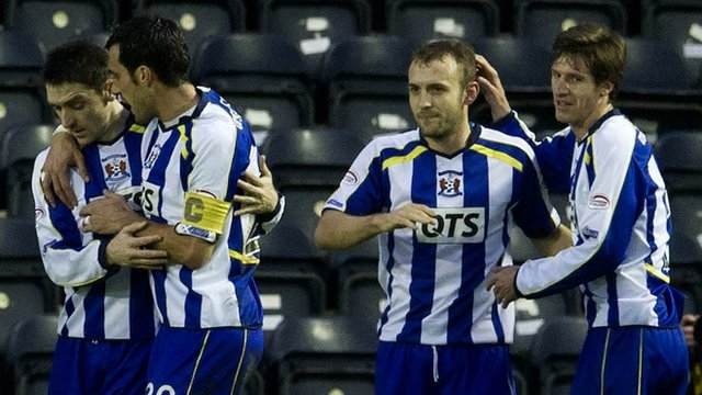 Liam Kelly (second from right) celebrates scoring a penalty for Kilmarnock
