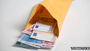 Envelope with euros inside