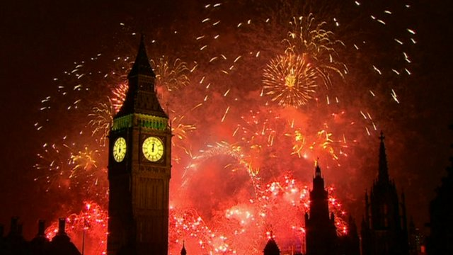 Fireworks light up the London skyline just after midnight on 1 January, 2013