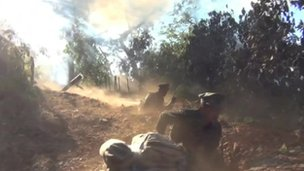 Video still from the footage provided by the Free Burma Rangers aid group