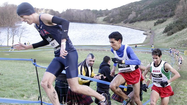 Spain's Ayad Lamdassem running in and winning the Great Edinburgh Cross Country Challenge men's 8000m race.