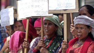 Victims of alleged Maoist war crimes protest in Kathmandu