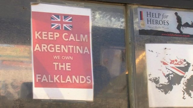 Pro-British rule poster in the Falkland Islands