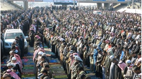 Thousands of Sunni Muslims pray on the main road in Ramadi, centre of demonstrations against the government