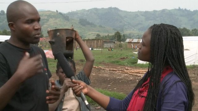 A Congolese refugee speaking to the BBC's Catherine Byaruhanga