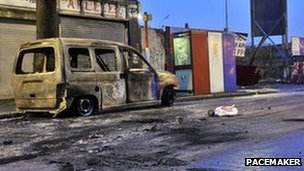 A burnt out van on the Newtownards Road in east Belfast