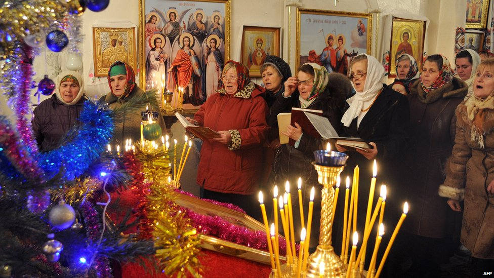 christmas service in town of verbovichi south east of minsk 6 jan 2013