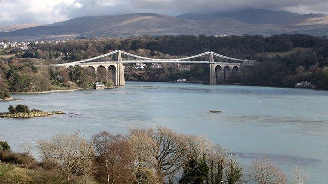 Menai Suspension Bridge, linking Anglesey with the mainland